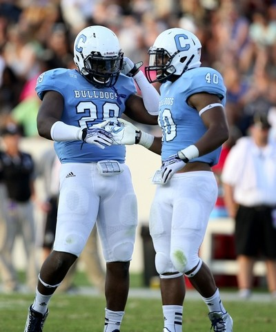 Citadel linebackers Carl Robinson (left) and Rah Muhammad are seniors and best friends who will play their final home game Saturday against Samford. (Paul Zoeller/Staff)