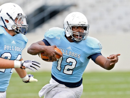 The Citadel's Aaron Miller has a chance to set the Bulldogs' single-season rushing record for quarterbacks. (Paul Zoeller/Staff)