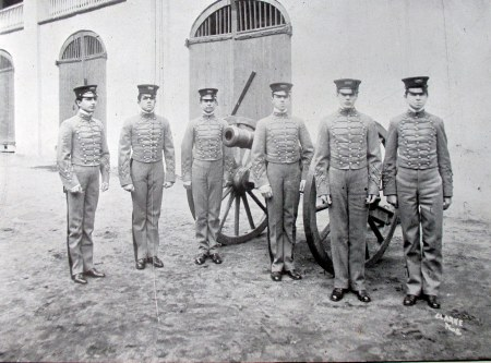 Cuban Cadets with one of the cannons in 1905