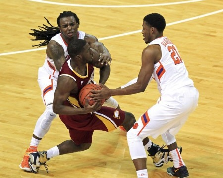 Former Winthrop guard Derrick Henry (center) plans to play his final college season at The Citadel. (AP Photo/The Independent-Mail, Mark Crammer)